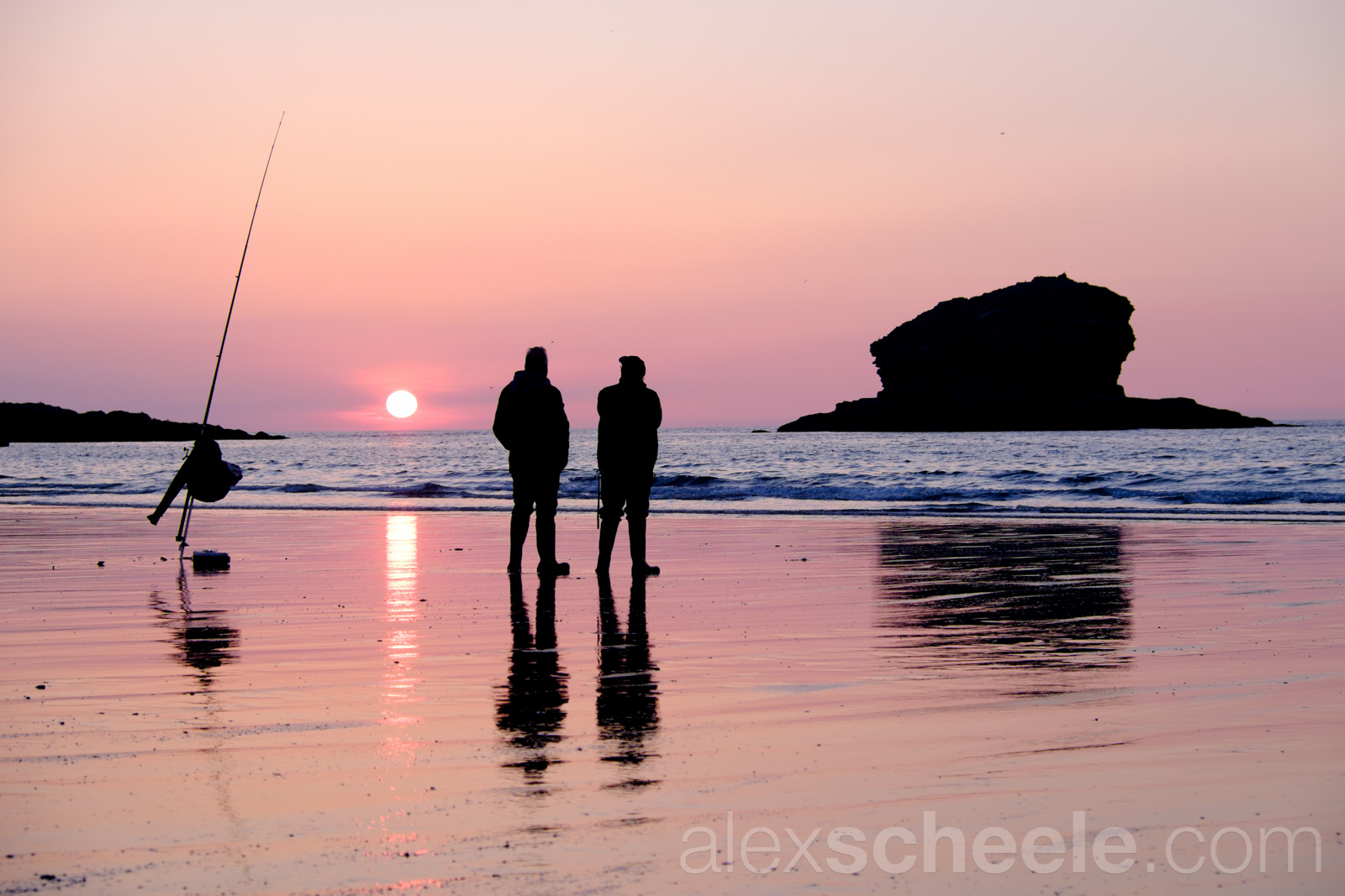 Beach Fishing At Sunset, Portreath